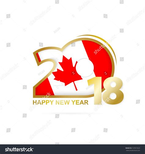 new year 2018 canada post year 2018 canada flag pattern happy stock vector 727815523