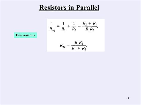 four 20 ohm resistors are connected in parallel what is the total resistance of the circuit simple resistive circuites ppt