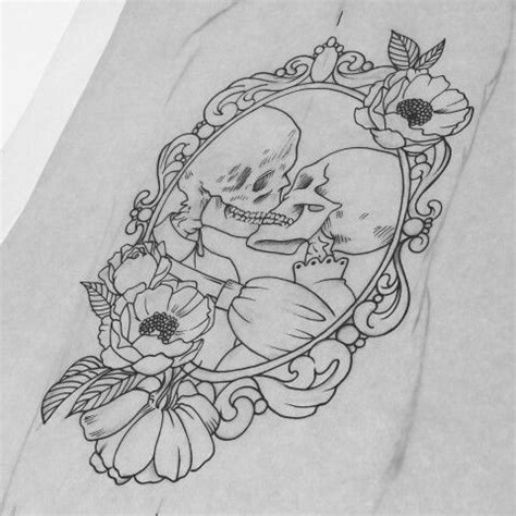 tattoo couple sketch sketch for tattoo skeletons kissing in frame with peonies
