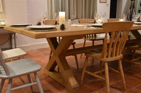 large bespoke arts crafts style oak dining table quercus furniture
