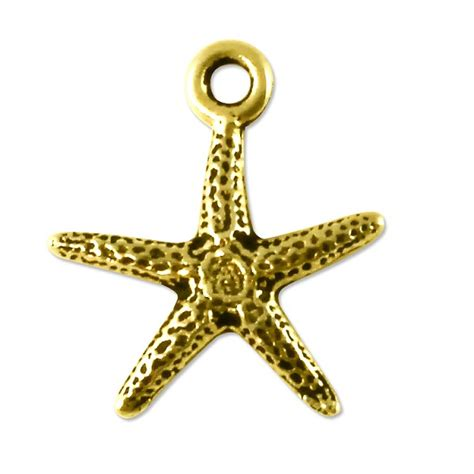 tierracast charm starfish 16x18mm pewter antique gold plated