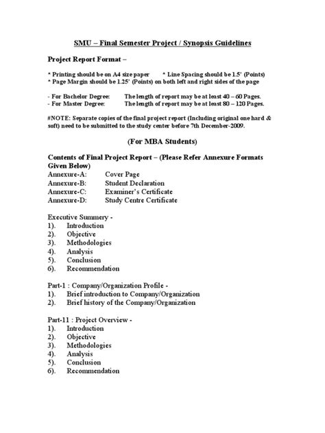 Scribd Project Report Mba by Smu Project Guidelines Title Pages Technology