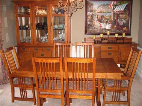 mission dining room set bassett 9 piece medium oak dining room set lighted hutch