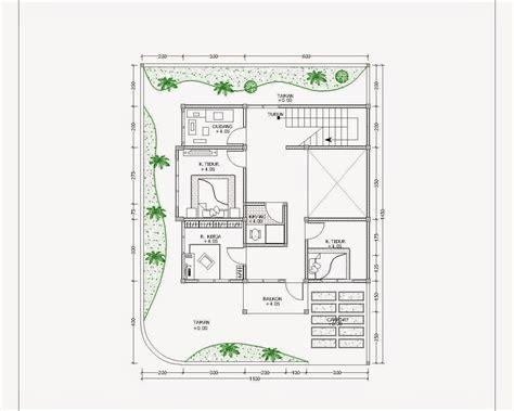 contoh gambar denah rumah minimalis menggunakan autocad