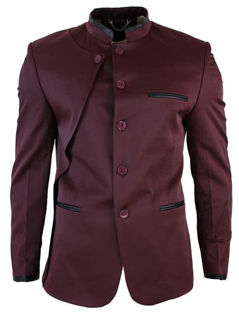 Kemeja Slim Fit Vino Navy mens nehru grandad collar blazer jacket wine burgundy navy