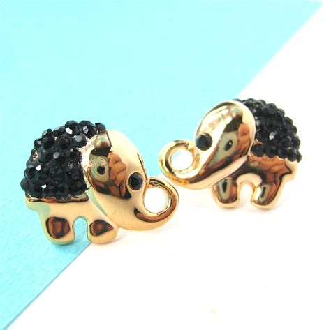 elephant animal stud earrings in gold with black