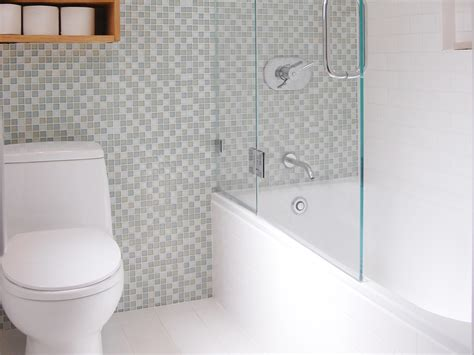 Bathroom Tile Mosaic Ideas by Bathroom Glass Enclosure With Tub Shower And Mosaic Tile