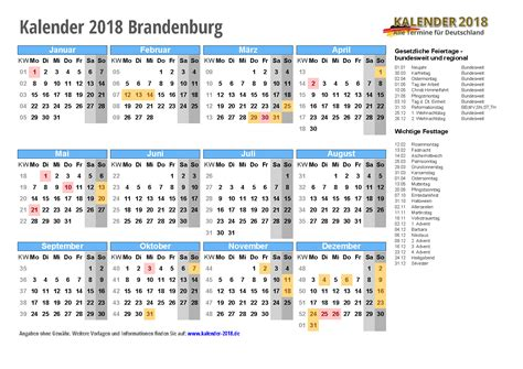 Kalender 2018 Mit Feiertagen Brandenburg Kalender 2018 Brandenburg Zum Ausdrucken 171 Kalender 2018