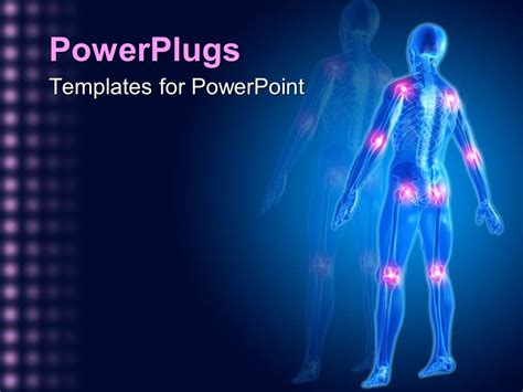 Powerpoint Template A Man Skeleton Showing Different Joints In The Human Body With Swelling Bone Powerpoint Template