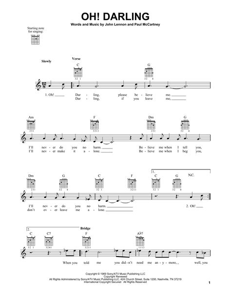 partition guitare oh darling tablature guitare oh darling de the beatles tablature
