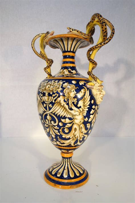 Majolica Vases Antiques by 19th Century Antique Italian Renaissance Style Majolica Vases Pair At 1stdibs