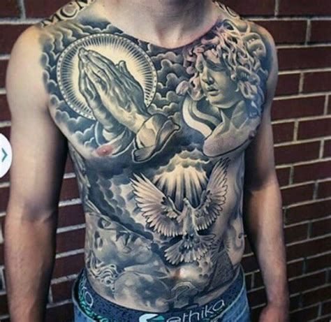 chest tattoo hashtags awesome full chest mens tattoo with religious theme