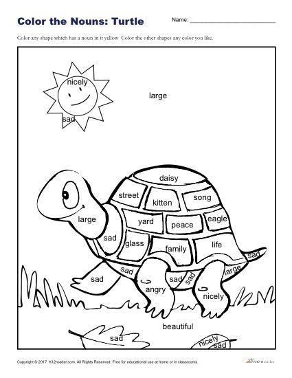 is color a noun color the turtle printable k 2nd grade nouns worksheet