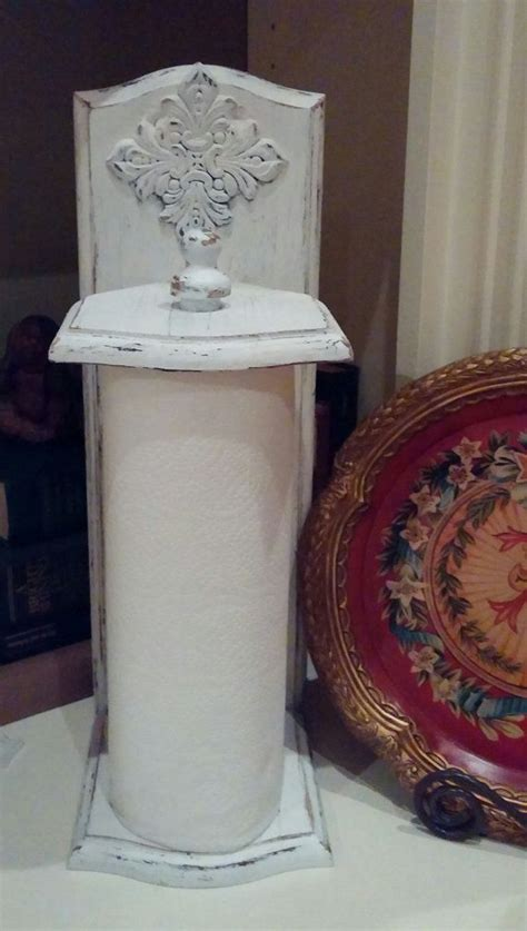 shabby chic paper towel holder vintage white by