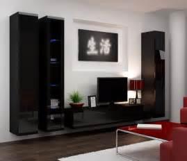 seattle 2 black tv wall unit modern wall units