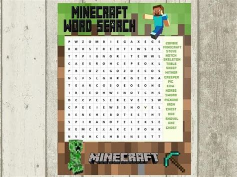 printable word search minecraft minecraft word search etc by betterdesigns4u on etsy