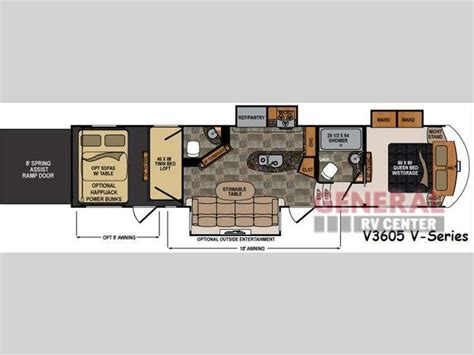 voltage rv floor plans new 2015 dutchmen rv voltage v series v3605 toy hauler