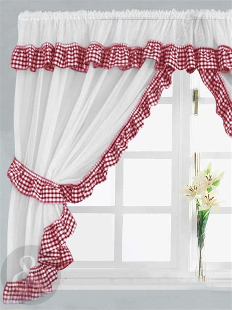 gingham kitchen curtains gingham check white
