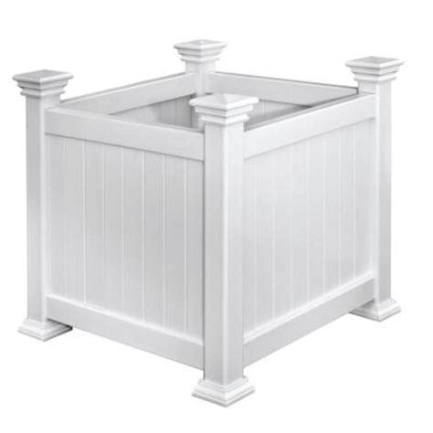 Square White Planter Box by Arbors Cardiff 16 In Square White Vinyl Planter Box