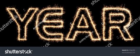new year word word year made sparklers letters high stock photo 67202797