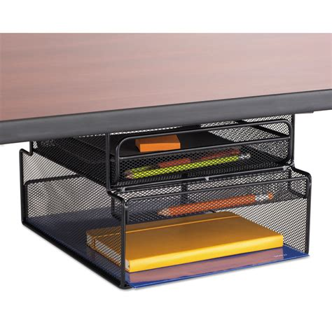 under desk storage shelf onyx hanging organizer w drawer by safco 174 saf3244bl