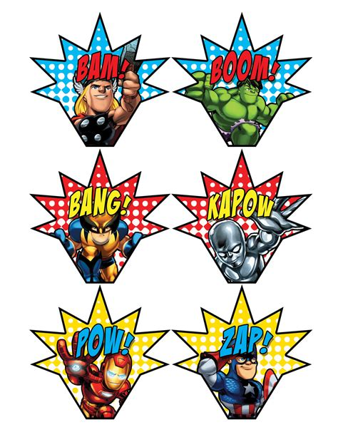 printable super heroes pictures superhero squad cupcake toppers blakes 7 pinterest