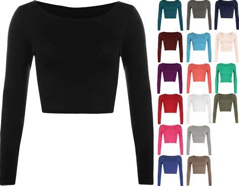 Basic Crop Shirt New Womens Crop Basic Sleeve T Shirt