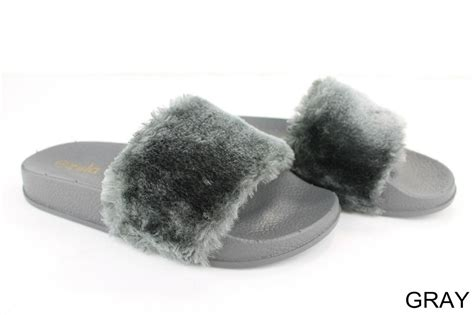 furry house shoes kids girls furry slippers soft faux fur slip on shoes sandals flip flop open toe ebay