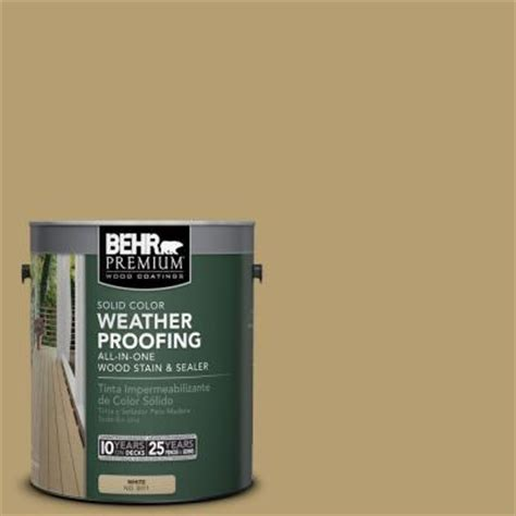 behr premium 1 gal sc 145 desert sand solid color weatherproofing all in one wood stain and