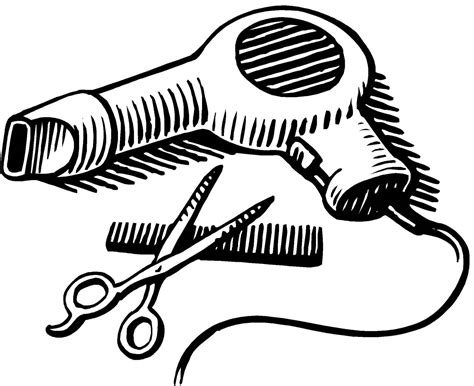 Hair Dryer Clipart Black And White dryer and scissors png transparent dryer and