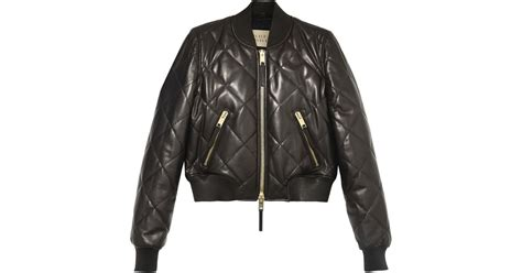 Burberry Leather Quilted Jacket by Burberry Brit Quilted Leather Bomber Jacket In Black Lyst