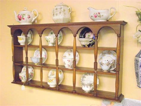 wood 3 tier display teacup saucer curio wall shelf w