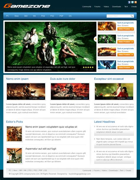 free templates for games website gaming website templates free download images