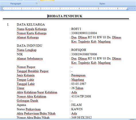 contoh biodata penduduk untuk surat pindah uchavision