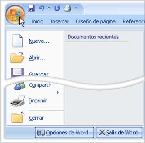 barra de herramientas superior formacion para el aprendisaje virtual que es word