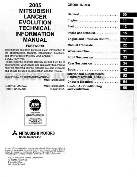 vehicle repair manual 2005 mitsubishi lancer evolution security system 2005 mitsubishi lancer evolution technical info and body manual supp