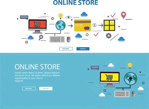 layout web online online store web design with infographic illustration free