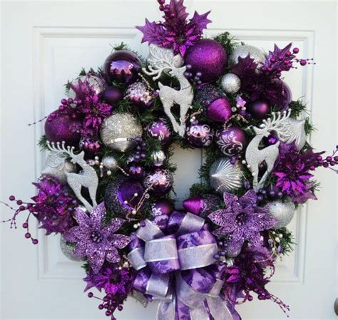 purple silver christmas wreath