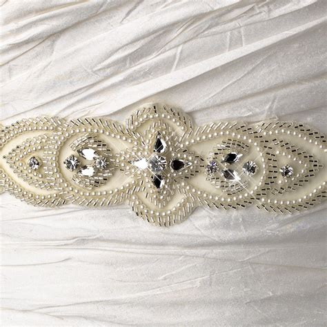 silver beaded belt embroidered faux pearl silver beaded bridal wedding sash