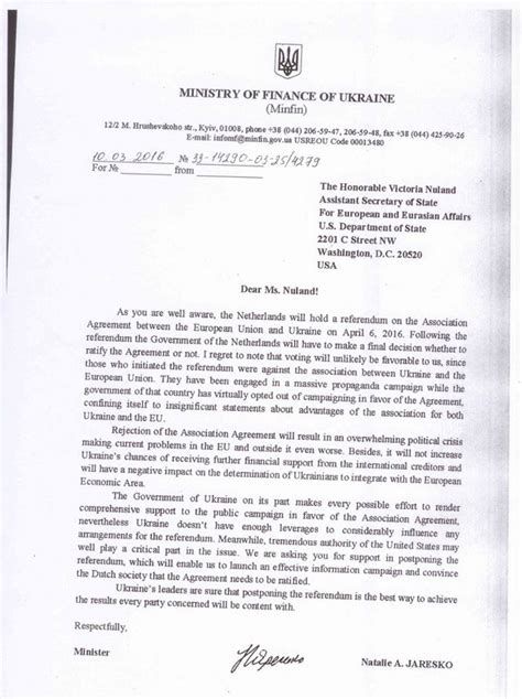 Finance Minister Letter Russian Site Publishes Ukrainian Finance Minister Letter