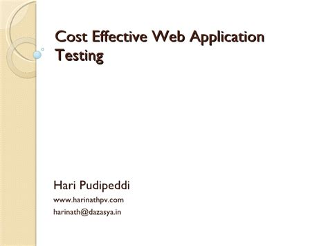 Cost Effective Mba by Cost Effective Web Application Testing