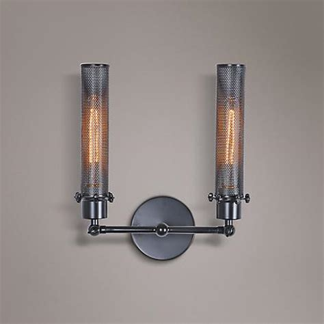 Nelson Wall Sconce Nelson 13 1 2 Quot High Black Metal Mesh 2 Light Wall Sconce 8m624 Ls Plus