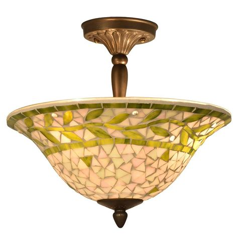 Mosaic Ceiling Light Springdale Lighting Mosaic 3 Light Antique Brass Semi Flush Mount Light Sth11083 The Home Depot