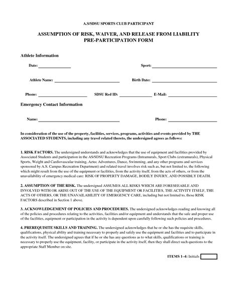 general liability waiver template doc 7201024 general liability waiver form printable