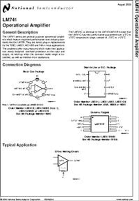 lm741cj datasheet lm741 operational amplifier, package