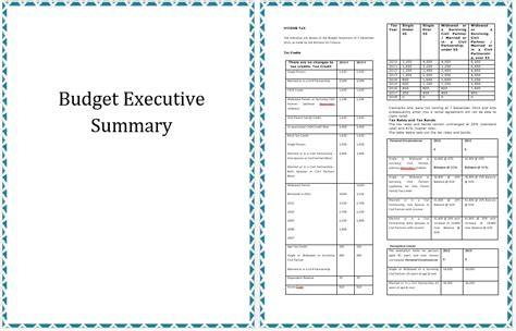 budget summary template executive summary template of annual budget planning