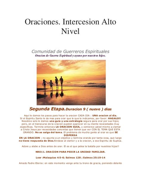 Oraciones De Interceccion De Alto Nivel | oraciones interseccion