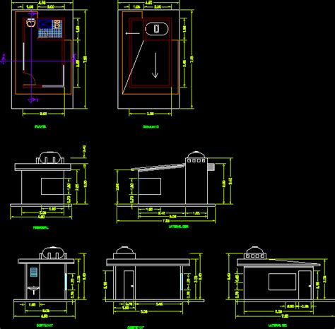 box auto dwg security guard booth box in autocad drawing