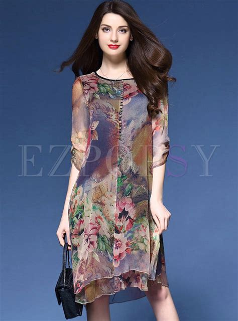 Vintage Asymmetric Dress dresses shift dresses vintage multi print asymmetric