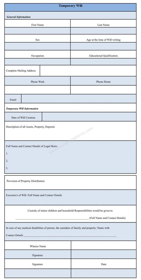 Temporary Will Template temporary will form sle template sle forms